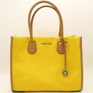 NWT MICHAEL KORS Mercer Yellow Canvas Tote Bag